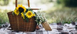 cottage basket container of flowers